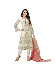 Fabefy White Party Wear Salwar Kameez In Faux Georgette