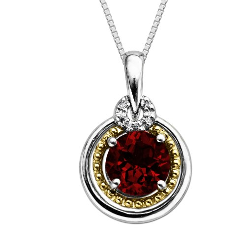 XPY Sterling Silver and 14k Gold Garnet Round Pendant Necklace, 18