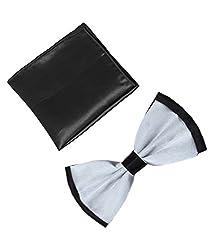 Classique Black & Silver Pre-tied Premium Micro Fiber Bow Tie with Matching Pocket Square