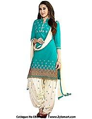 StarShop18 Women Unstitched Art Silk Patiyala Suit With Dupatta (Sky Blue, SS18-EBSFSK291001NP)