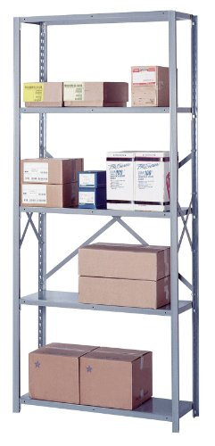 "Lyon PP8006SH 8000 Series Open Shelving Starter with 5 Heavy Duty Shelves, 36"" Width x 18"" Depth x 84"" Height, Putty"