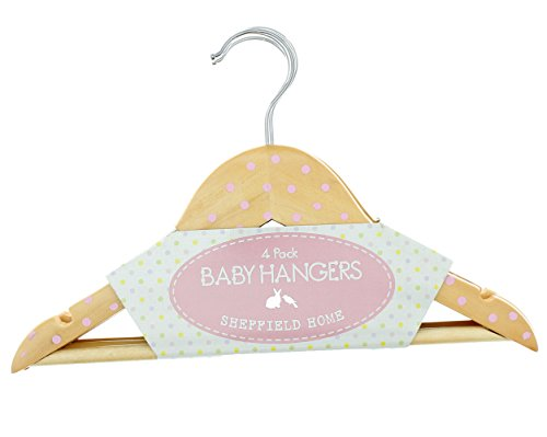Wooden Baby Hangers With Pink Polka Dots, 4 Pack - 12