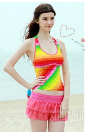 Swimming Costume Ladies, Rainbow Tankini Bikini , with bra support & removable cups, UK size 14
