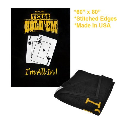 New Trademark Texas Holdem Blanket 60 Inch X 80 Inch Durable Stitched Blanket Edging