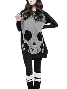 Allegra K Women's Long Sleeve Skull Printed Stretch Pullover Shirt by Allegra K