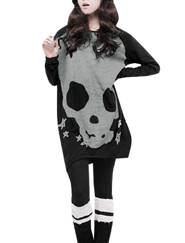 Allegra K Women Leisure Long Sleeve Skull Star Pattern Loose Tunic Blouse