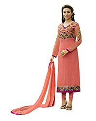 Texclusive Women's Brasso and georgette Semi Stitched Dress Material