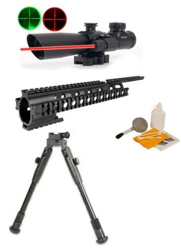 "Ultimate Arms Gear Black Finished Machined Aluminum Ruger 1022 10/22 10-22 Rifle 15"" Picatinny Accessory Mount System Forend + ""Qd"" Quick Release 4X32 Dual Red And Green P4 Mil Dot Rangefinder Reticle Hunting Rifle Scope With Red Dot Laser Sight - Include front-36594"