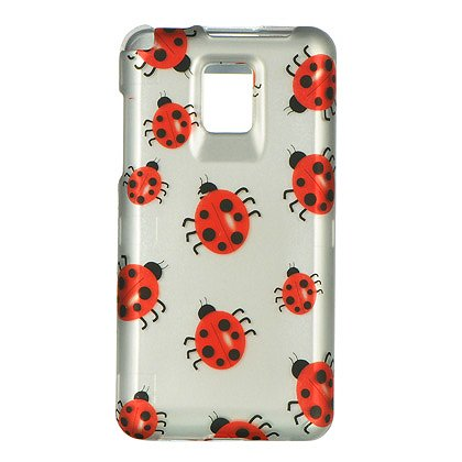 LG Optimus 2x G2X (T-Mobile) Lady Bugs on Silver Rubber Touch Snap-On Protector Hard Cover Case + Bonus 5.5