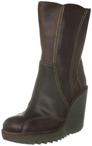 Fly London Women's Crack Leather DarkBrown Platforms Boots P500174004 5 UK