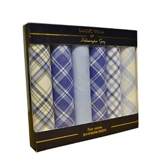 6 paquets de mouchoirs homme mis en boîte 100% coton à damiers
