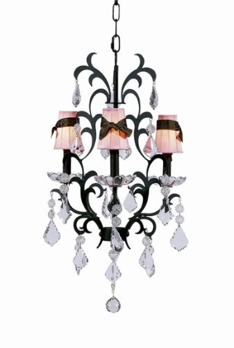 ON SALE Pink Plain Sconce Shades with Brown Sash on the Mocha 3-arm Damask Chandelier
