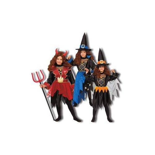 Pretend Devil-Wizard-Witch Child Costume Dress-Up Sets (3-in-1) Size 4-6
