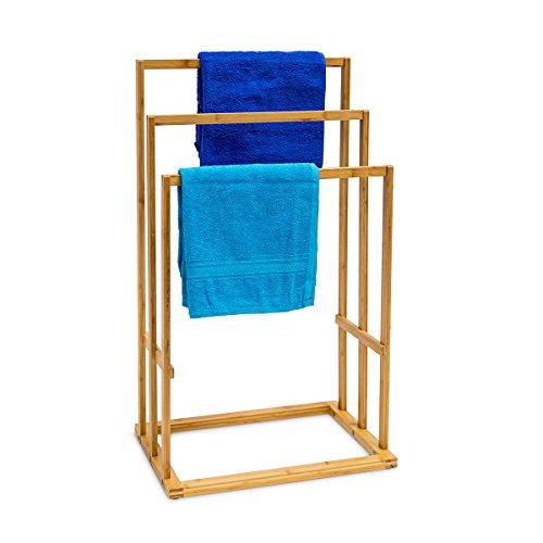 Relaxdays Porte Serviette Avec 3 Barres Salle De Bain Bambou 40 X 245