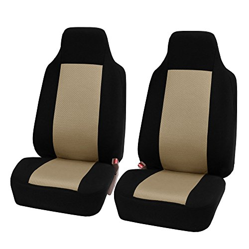 FH GROUP FH-FB102102 Classic High-Back Cloth Pair Car Seat Covers Beige / Black color- Fit Most Car, Truck, Suv, or Van (Seat Covers For Small Cars compare prices)