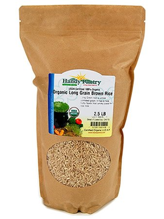 Organic Long Grain Brown Rice - 2.5 Lbs - Raw, Non-GMO - Cooks Fluffy & Seperate: For Cooking, Pilaf, Rice Milk, Food Storage & More (Diamond Brown Rice compare prices)