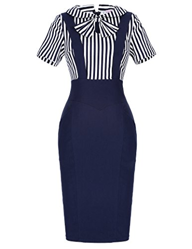 Belle Poque Women's Vintage Faux Twinset Knee-Length Stretch Bodycon Dresses (Small, Navy Blue) (Church Split compare prices)