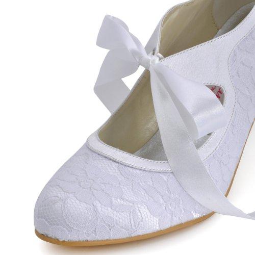 ElegantPark Women Mary Jane Closed Toe High Heel Pumps Lace Wedding Dress Shoes 4