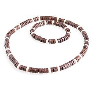 DonDon Halskette und Armband mit Echtholzperlen im Beach Look