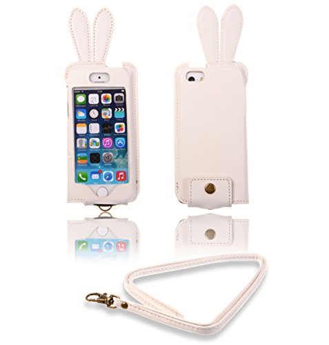 Kiss Gold Fashion Cool Cute Rabbit Ear Leather Case For Apple Iphone 5/5S/5C With Detachable Hand Strap(White)