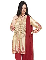 Rain And Rainbow Women's Cotton Understated Elegance Beige Kurti