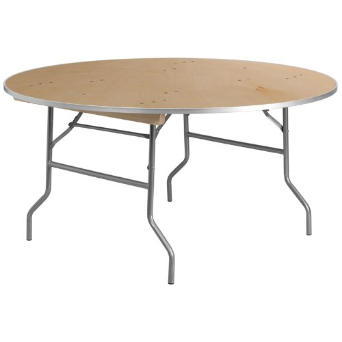 Flash Furniture 60 Round HEAVY DUTY Birchwood Folding Banquet Table with METAL Edges