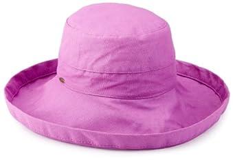 Scala Women's Cotton Big Brim Hat, Purple, One Size
