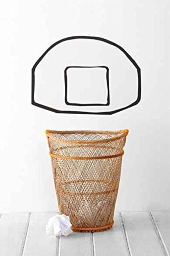 Basketball Trash Can Bin Garbage Back Board Vinyl Wall Art Decal Sticker (Trash Can 17 Inch compare prices)