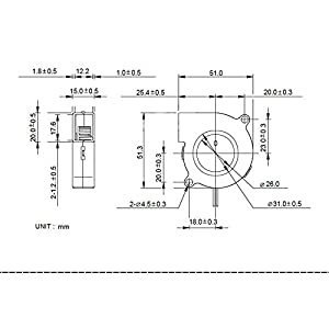 Yowming 2PCS 12V 0.23A 5015 50X50x15mm 3D Printer Cooling Fan Ultra-quiet Oil