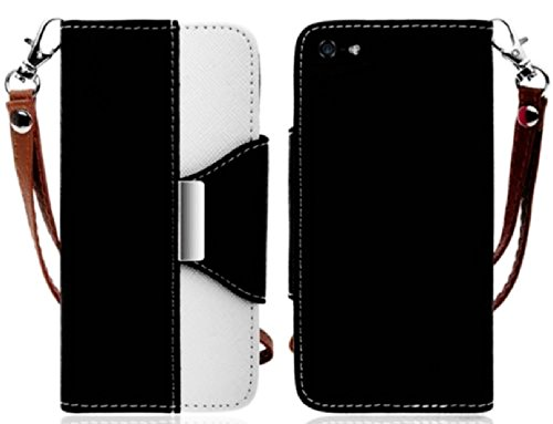 Mylife (Tm) Black And White Classy Design - Textured Koskin Faux Leather (Card And Id Holder + Magnetic Detachable Closing) Slim Wallet For Iphone 5/5S (5G) 5Th Generation Smartphone By Apple (External Rugged Synthetic Leather With Magnetic Clip + Interna