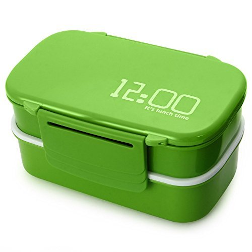 Lunch Time Japan style Double Tier Bento Lunch Box 4 Color Large Meal Box Tableware Microwave Dinnerware Set (Coffee) (Hard Cover Fix And Freeze compare prices)