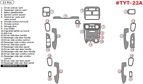 Dash Overlay Kit ITEM# TYT-22A-SMBW Toyota Corolla, For Models With Power Windows, Main Kit, 23 Piece Set, Medium Burl Wood (Wood Dash Kit For Corolla compare prices)