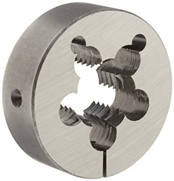 """Union Butterfield 2010(UNC) Carbon Steel Round Threading Die, Uncoated (Bright) Finish, 3"""" OD, 1-1/8""""-7 Thread Size"""
