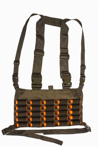 Ultimate Arms Gear Tactical OD Olive Drab Green Chest Rig 25 Round 12 & 20 GA Gauge Elastic Universal Shotgun Shot Shell Cartridge Ammo Ammunition Holder Carrier Hunting Harness Vest with Hidden Internal Document Map Utility Pocket (Soe Micro Rig compare prices)