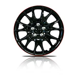15″ Hubcaps Premium Quality Black with Red Lip 4 Pack