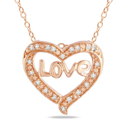 Pink Silver 1/10 CT TDW Diamond Heart Pendant With Chain (G-H, I3)