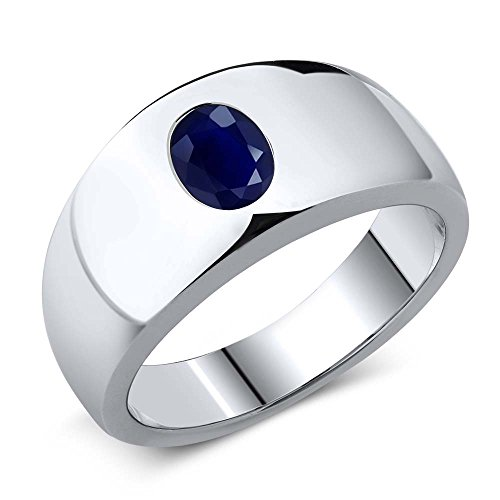 1.79 Ct Oval Natural Blue SI1/SI2 Sapphire 925 Sterling Silver Men's Ring