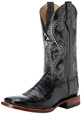 Ferrini Men's Print Belly Alligator S-Toe Western Boot,Black,7 D US