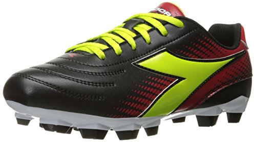 Diadora Women's Mago R W Lpu Soccer Shoe, Black/Lime/Red, 9 M US