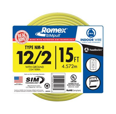 Southwire 28828226 15-Feet 12-Gauge Indoor Building Wire 2 Conductors 12/2 With Ground Type Nm-B Romex Simpull, Yellow Outer Jacket