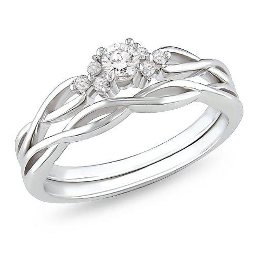 10K White Gold 1/6 CT TDW Diamond Bridal Set Ring (G-H, I2-I3)