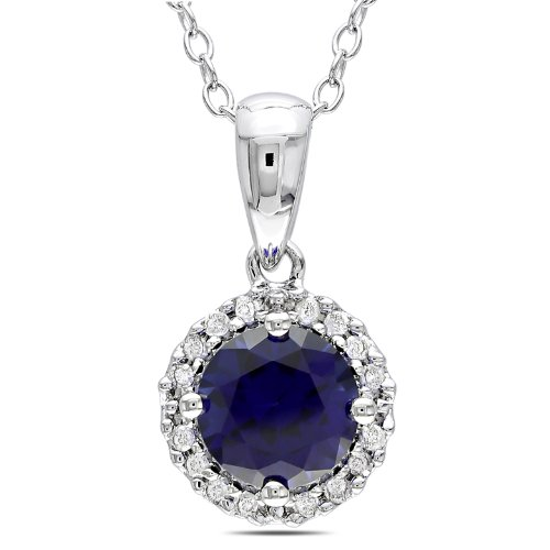 Sterling Silver 1 CT TGW Created Sapphire 1/10 CT TDW Diamond Fashion Pendant (G-H, I3)