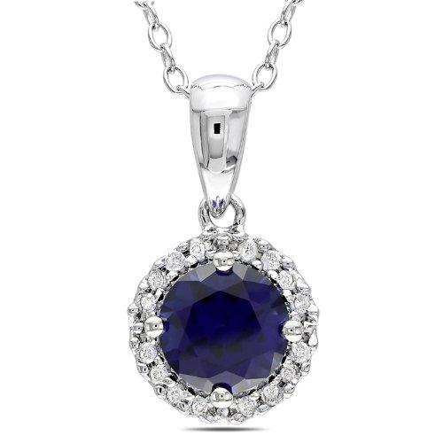 Sterling Silver 1 CT TGW Created Sapphire 1/10 CT TDW Diamond Fashion Pendant (G-H, I3)