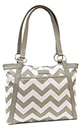 Kailo Chic Women\'s Pleated Laptop Tote - Gray Chevron Coated Canvas
