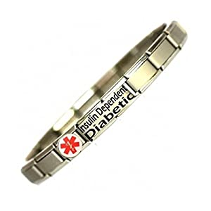 Colour Insulin Dependant Diabetic Medical Alert Bracelet - Stainless Steel - One size fits all - Totally Adjustable