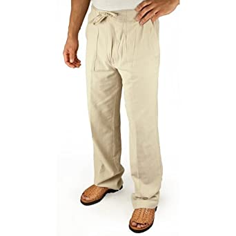 Cotton beach drawstring pants in Natural size medium at Amazon Men's