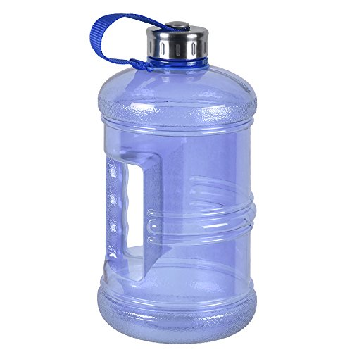 3 Liter BPA Free Reusable Plastic Drinking Water Bottle Jug Container w/ Hand Holder Canteen and Stainless Steel Cap - Dark Blue (Body Building Water Bottles compare prices)