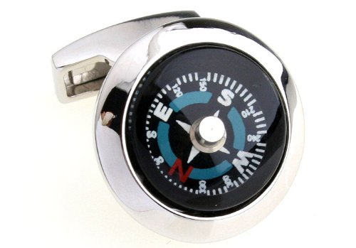 LBFEEL Classic Novelty Cufflinks for Mens Jewelry the Compass Design One Pair with Box
