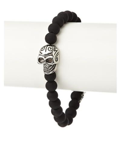 Stephen Oliver Men's Matte Onyx Skull Bracelet