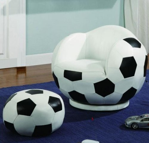 2pc Small Kid's Swivel Chair and Ottoman Set with Soccerball Design
